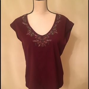 Tops - Silk top embellished with sequence size M no tag